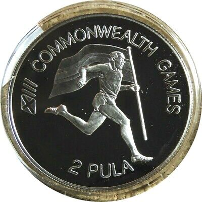 elf Botswana 2 Pula 1986 Silver Proof Commonwealth Games Runner Flag