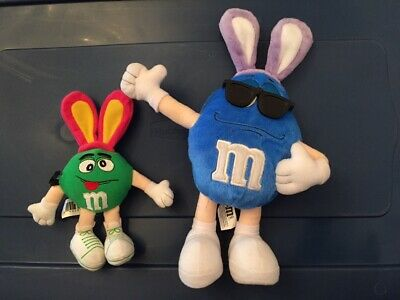 ^^    M & M Easter Bunny Blue Plush with Ears & Mini Green M & M with Bunny Ears