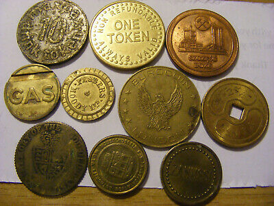 A Collection of 10 old mixed Tokens - all look ok condition