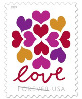 Roll of 100 USPS (5 Panes OF 20) Forever Postage Love Stamps Hearts Blossom#5339