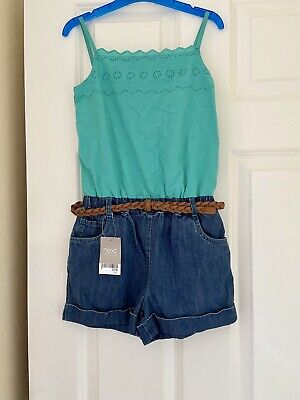 Next Girls Playsuit Denim Shorts Outfit Age 8-9 9-10 BNWT £19 Trendy Summer