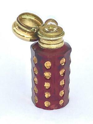 Antique Octagonal Ruby Glass Miniature Scent Perfume Bottle With Gilded Circles
