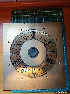 ANTIQUE BRASS  GRANDFATHER CLOCK FACE / DIAL- 13 X 13 INCHES engraved