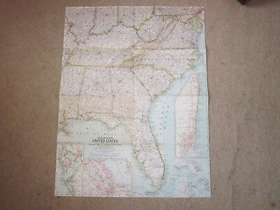Southeastern United States   -  National Geographic Map . 1958  *
