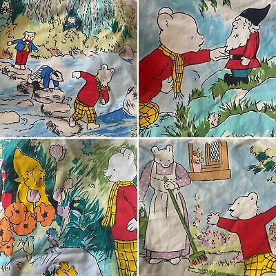 "Vintage 1986 Rupert Bear /& Friends Large Fabric Remnant 34/""Wx53/""L New /& Crisp"