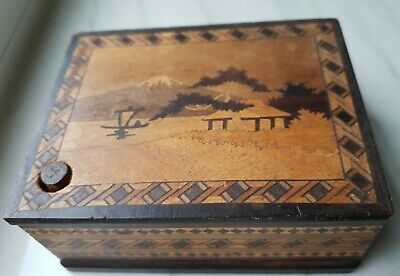 Beautiful Antique Japanese Wooden Inlay Puzzle box Button Secret drawer rare
