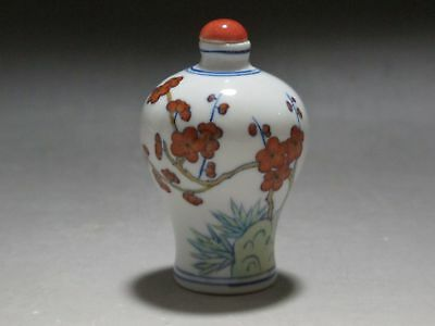 TH00303 China Multi-Color Blue and white porcelain Snuff Bottle Plum Bamboo pine