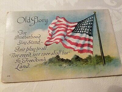 """Antique """"Old Glory"""" Patriotic USA Flag Postcard  Early 1920s"""