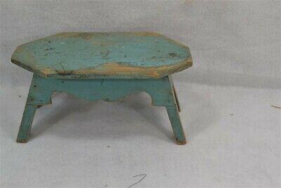 antique foot stool cricket painted wood splayed leg primitive pine