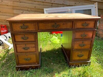 Antique writing desk with 7 drawers