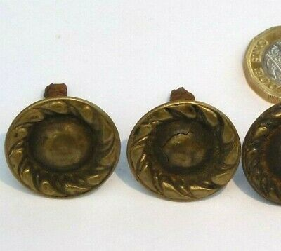 SET X 4 VINTAGE BRASS CHEST DRAWERS SMALL KNOB HANDLES REGENCY GEORGIAN ref90