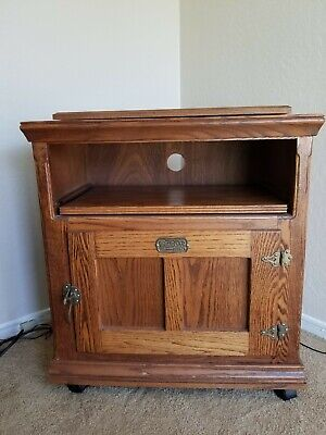 Vintage White Clad Oak Ice Box End Table Microwave Stand Swivel Top RARE