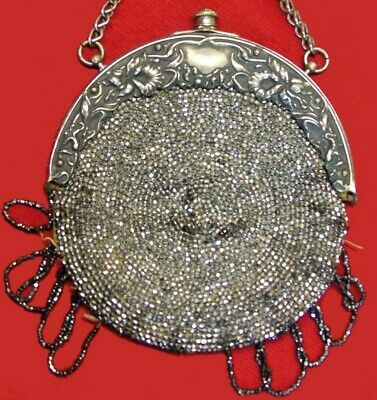 Antique Victorian Silver Metallic Beaded Chatelaine Evening Handbag Purse Fringe