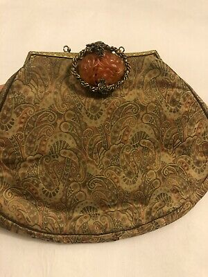 Antique Chinese Export clutch bag purse With Jade Vintage Asian Old China