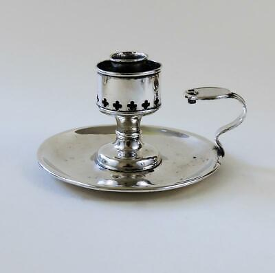 VICTORIAN GOTHIC Silver Plated CHAMBER CANDLESTICK c1850