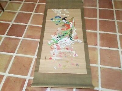 Antique Qing Chinese scroll painting kwan yin flowers signed seal mark beautiful