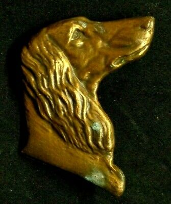 Vintage AFGHAN HOUND DOG BRASS METAL ART Emblem Ornament Badge Decorative marked