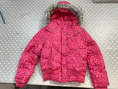 Next Girls Hooded Bomber Style Padded Jacket Coat With Hood - Age 7-8 Yrs