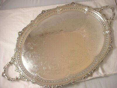 1885 Victoria London Impressive Silver Huge Tray Sibray Hall 2961 grams QUALITY