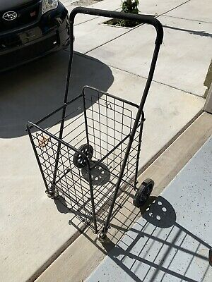 Foldable Shopping Cart Jumbo Basket Rolling Utility Trolley Adjustable Handle