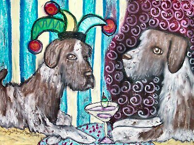German Wirehaired Pointer Signed Art Print by Artist KSams 8x10 Dog Collectible