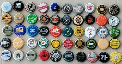50 MIXED Beer & Soda Bottle Caps Great Assortment Some Used Some New