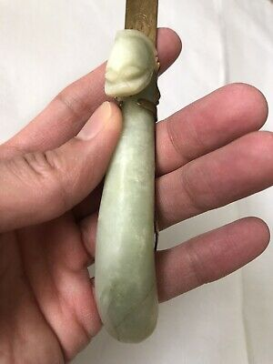 Antique Vintage Chinese Export Jade Dragon Brass Letter Opener China Chipped