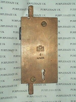 Two Squirrel Brand 4 Lever Sliding Door Gate Hook Lock Solid Brass Vintage 2