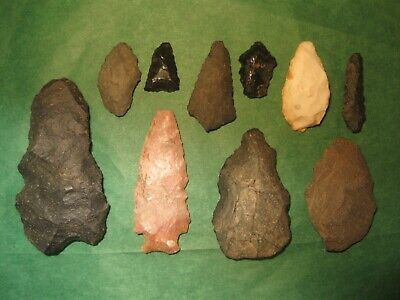 10 Southwest Prehistoric Arrowheads Tools Authentic American Indian Artifacts M4