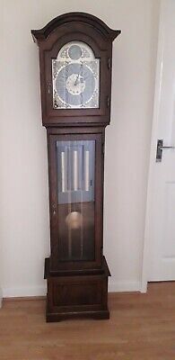 Grandfather Clock Billib Westminster Chimes Rare Horoscope Dial 3 Weight Driven