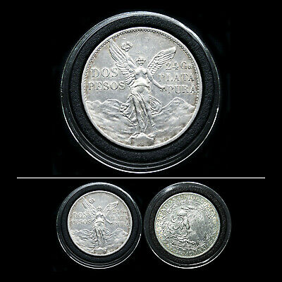 Mexico 1921 Winged Liberty .900 Silver 2 Pesos 100Yr Independence Mexican Coin