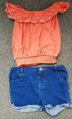 Lovely 2 Piece Outfit, Off Shoulder Top & Denim Shorts, 3-4 Years