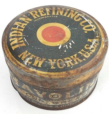 Early Indian Refining Company Grease Can 1lb New York original gas oil station