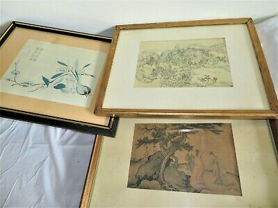 3 Chinese Artworks Flowers + Men In Conversation + Village: Very Old Prints