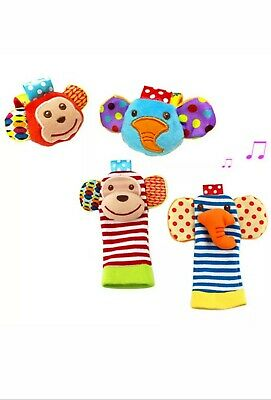 4PCS Baby Wrist and Foot Rattles Finder Socks Set Animal Rattles Baby Toys NEW