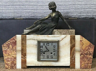 GOOD ART DECO ONYX MARBLE CLOCK GARNITURE  Spelter Lady , Needs Repair / Service