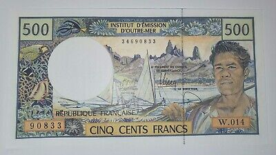 UNC French Pacific Territories 500 Francs ND 1992 P-1b LOW STARTING BID