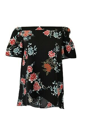 RIVER ISLAND Girls Off The Shoulder Black Floral Loose Top Age 12 STUNNING!!!