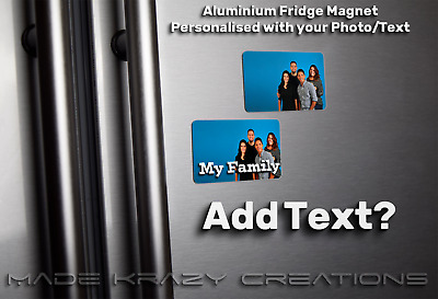 Personalised Photo Fridge Magnet metal 85mm x 54mm fathers day gift