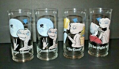 1982 Set of 4 PIZZA HUT/E.T. THE EXTRATERRESTRIAL Glasses,3 Diff Scenes,1 Double
