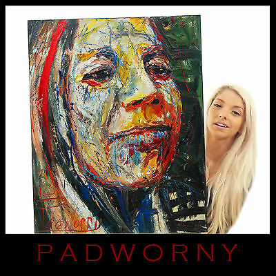 Original Oil Painting Large Impressionist Art Pop Funky Portrait Folk Abstract