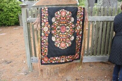Large Floral Embroidered Piano Scarf Multicolor Fringe Black Background Antique