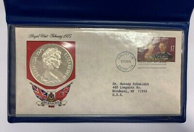 1975 Bermuda $25 Royal Visit Sterling Silver Proof Coin First Day of Issue COA