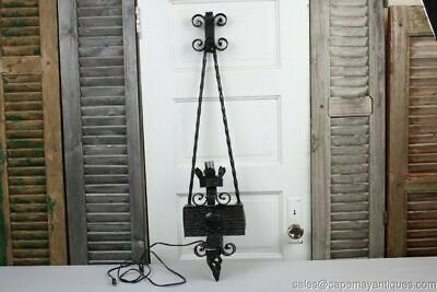 """Antique Wrought Iron Sconce Electric Gothic Castle Black 37"""" Height Twisted Iron"""