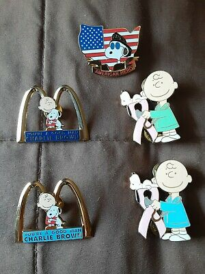 (5)2 Mcdonalds Snoopy pins, Charlie Brown you are good man. 2 Breast Cancer 1 FF