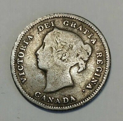 Better Date 1887 Canada 5 Five Cent .925 Fine Silver Coin
