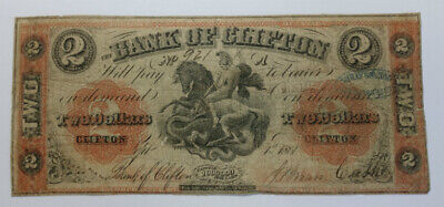 RARE 1861 Canada $2 Two Dollar Bank Of Clifton Note Bill