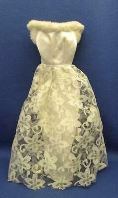 Genuine Mattel Barbie Doll White Gown Dress With Lace