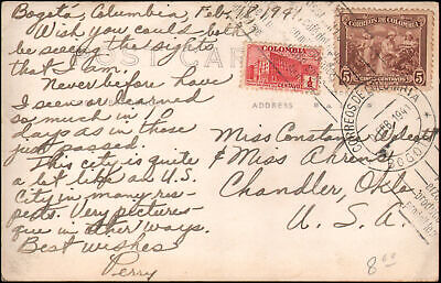 Bogota Colombia to Chandler OK 1941