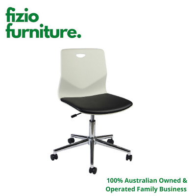 GEE white & chrome HEIGHT ADJUSTABLE Ergo Home/Office Chair **FREE SHIPPING**